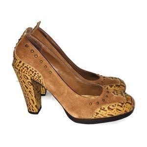 Sam Edelman Tan Suede Stud Snakeskin Leather Heels